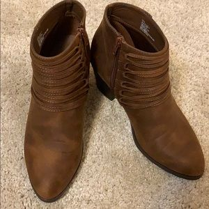 JustFab Brown Heeled Booties